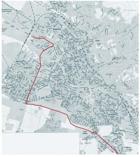 Traseul pistei noi pentru bicicliști
